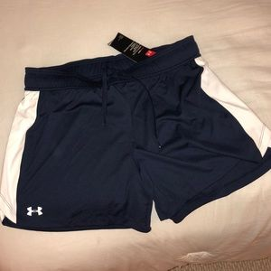 Under Armour navy and white shorts NWT